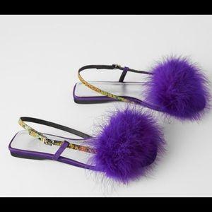 Zara blue collection purple faux fur flat sandals